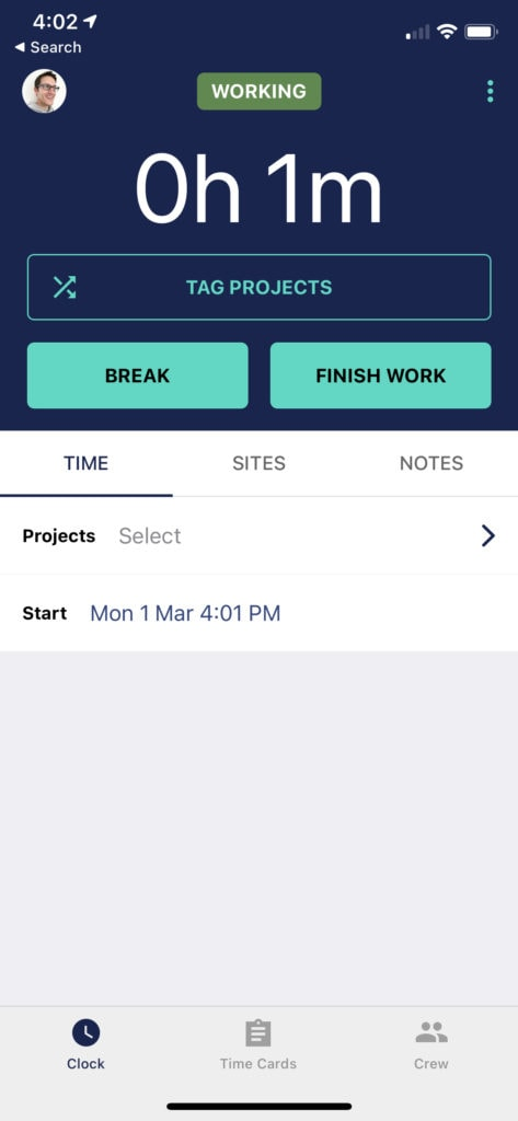 A time tracking app showing the user it's in a working state and sharing location information