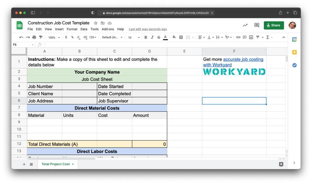 A simple template to help you see how to calculate job costs for your projects